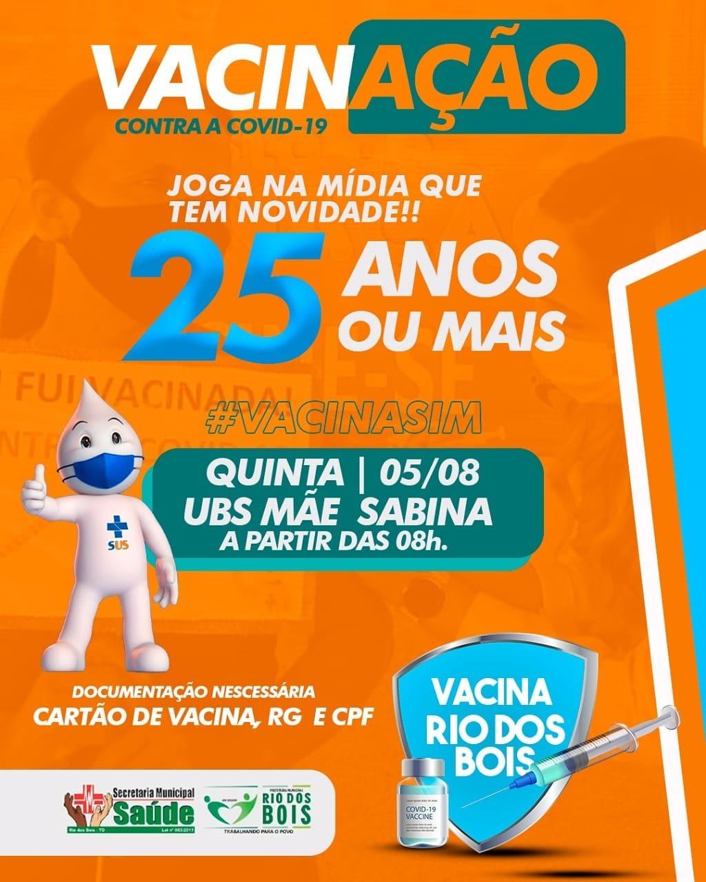 Covid-19: Rio dos Bois anuncia início da vacinação para quem tem 25 anos ou mais