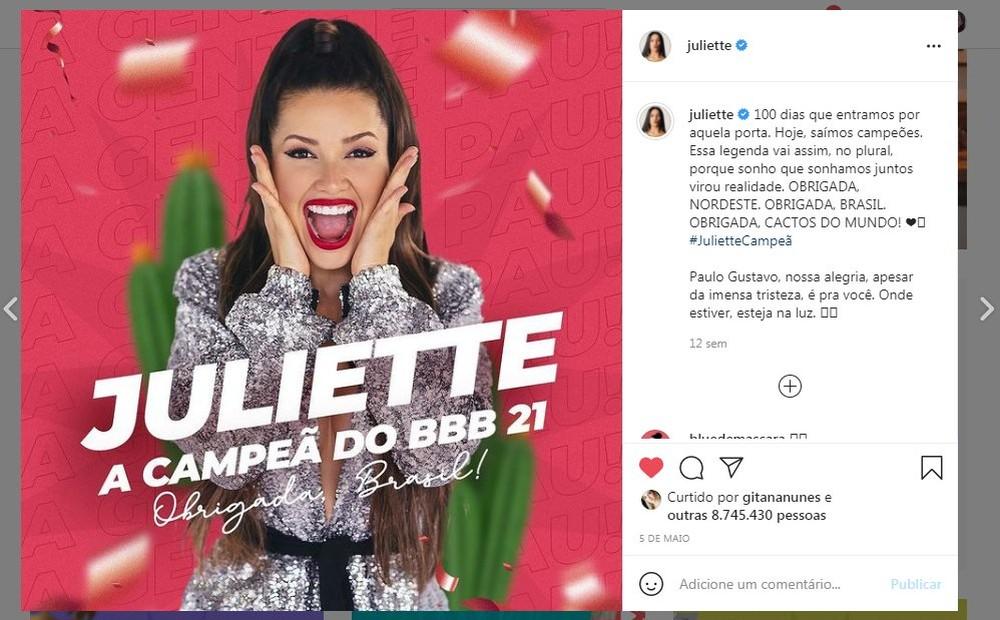 Juliette entra no Guinness por post mais rápido a bater 1 milhão de curtidas