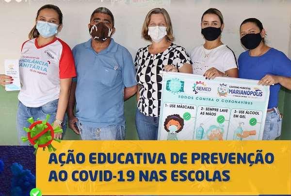 Covid-19: Educação de Marianópolis promove fiscalização e ação educativa em escola municipal