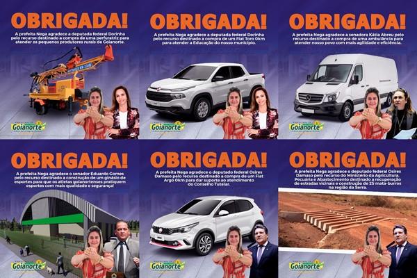 Prefeitura de Goianorte publica agradecimentos a políticos parceiros do município