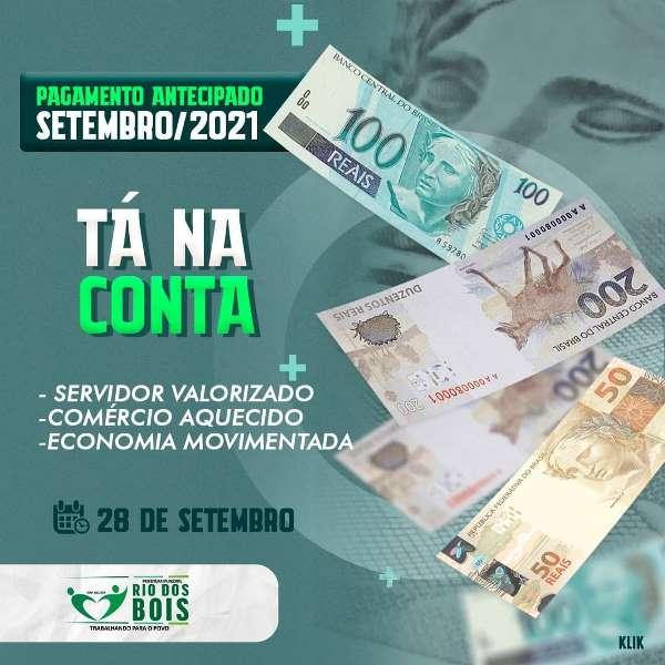 Prefeitura de Rio dos Bois antecipa pagamento de setembro dos servidores do município