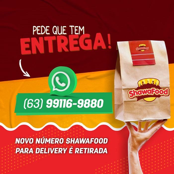 ShawaFood informa novo número para delivery e retirada, em Paraíso-TO