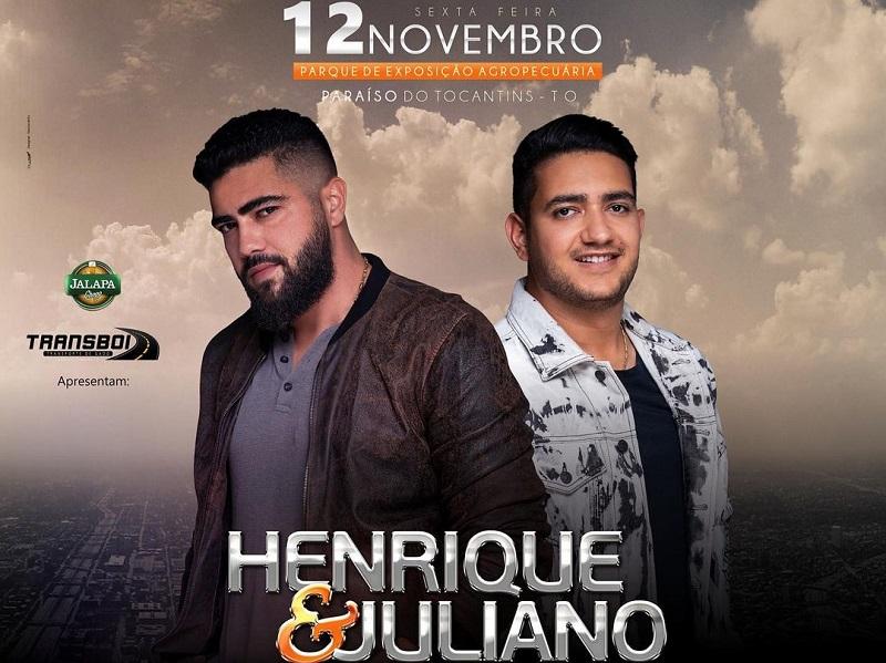 Concorra a um par ingressos VIP para o show da dupla Henrique & Juliano em Paraíso
