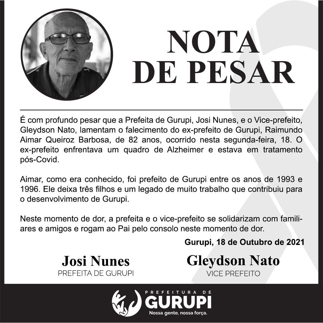 Prefeita Josi Nunes declara luto oficial em Gurupi pelo falecimento de Raimundo Aimar
