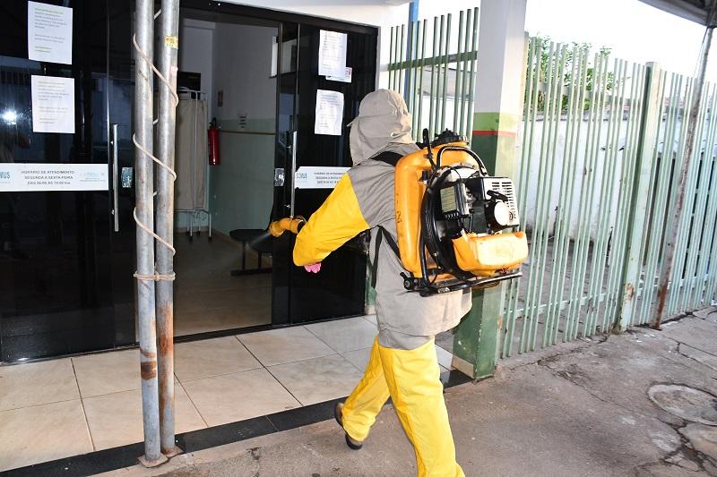 Prédio da UBS Ursulino Costa, em Paraíso, recebe sanitização para retorno de atendimentos no local