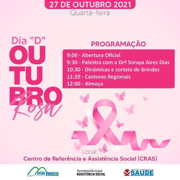 Assistência Social e Saúde de Dois Irmãos realizarão Dia 'D' da Campanha Outubro Rosa