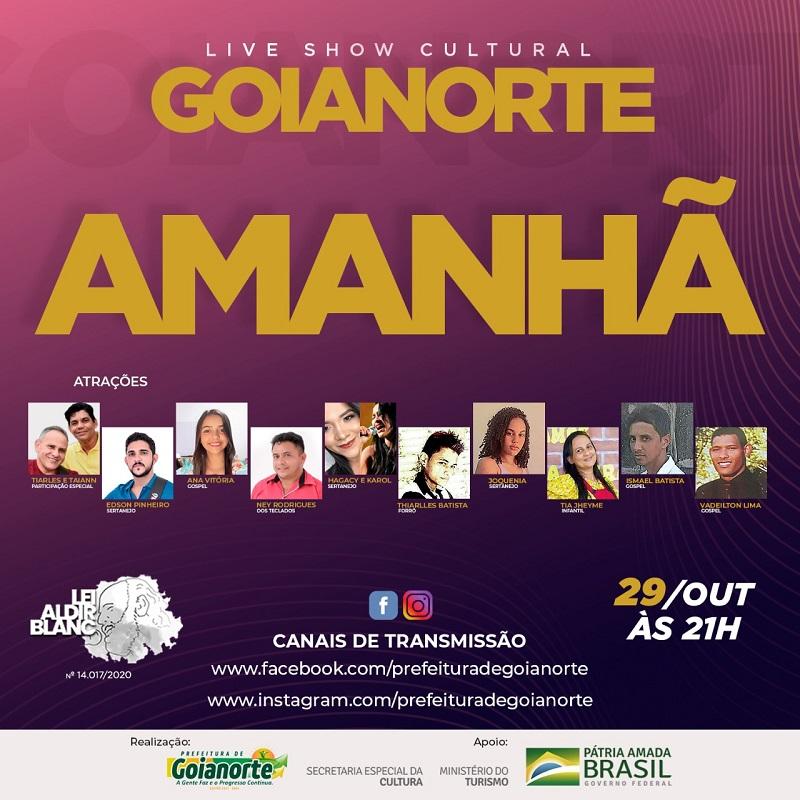 Prefeitura de Goianorte promove Live Show nesta sexta (29) e movimenta cultura local