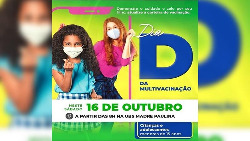 """Dia """"D"""" da Campanha Nacional de Multivacinação em crianças e adolescentes acontece neste sábado (16) em Marianópolis"""