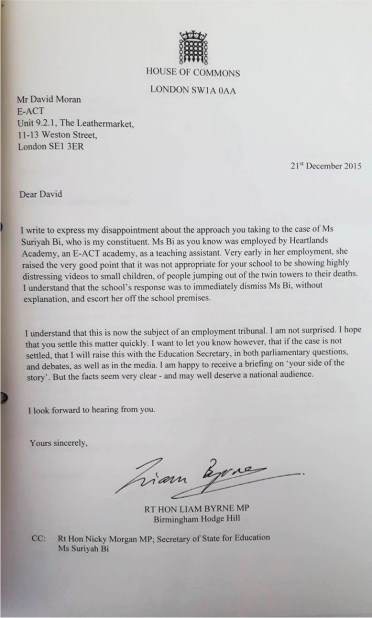 Letter to David Moran, Chief Executive of E-ACT.