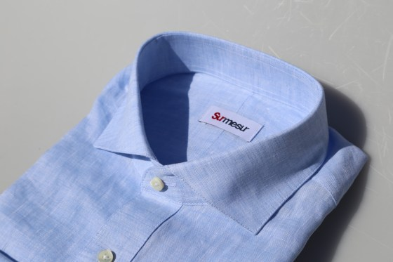 baby blue linen made-to-measure custom shirt perfect for the summer.