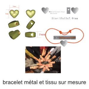 bracelet métal tissu sur mesure