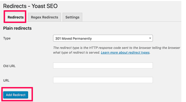 Yoast SEO Redirections Tools