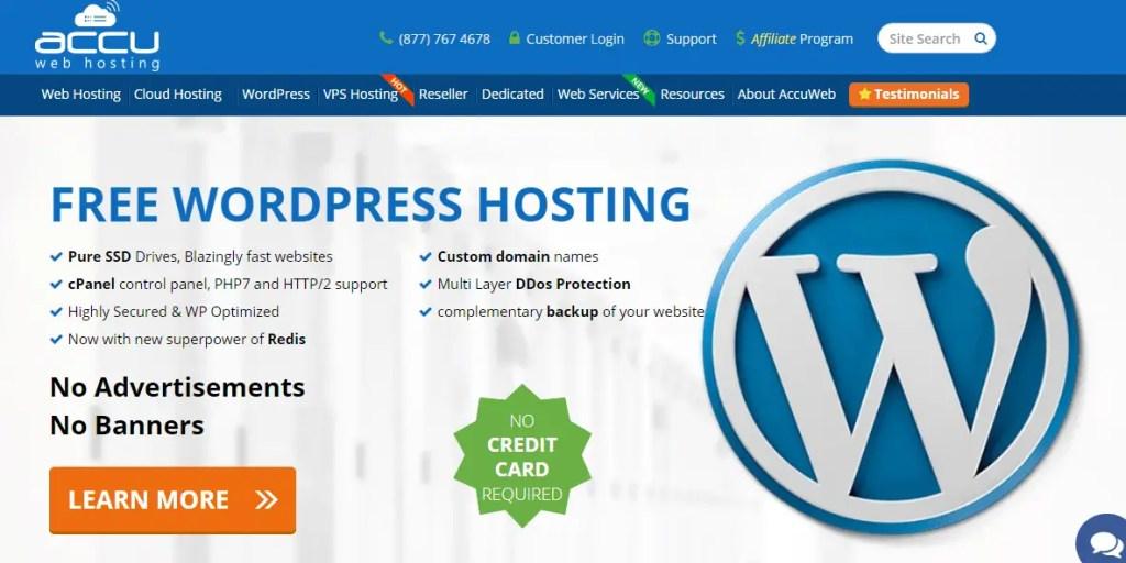 Accuwebhosting Free WordPress Web Hosting Sites
