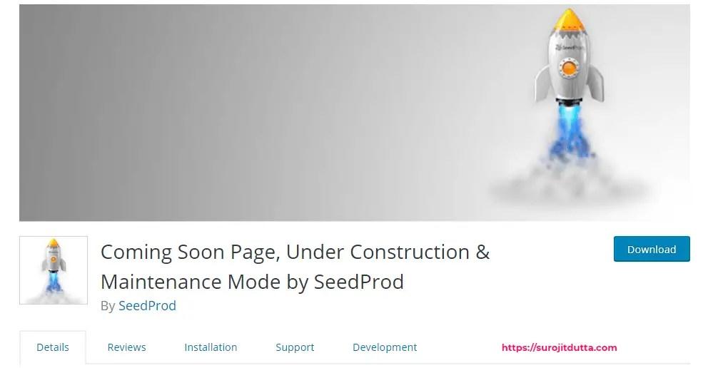 setup WordPress maintenance mode through seedprod