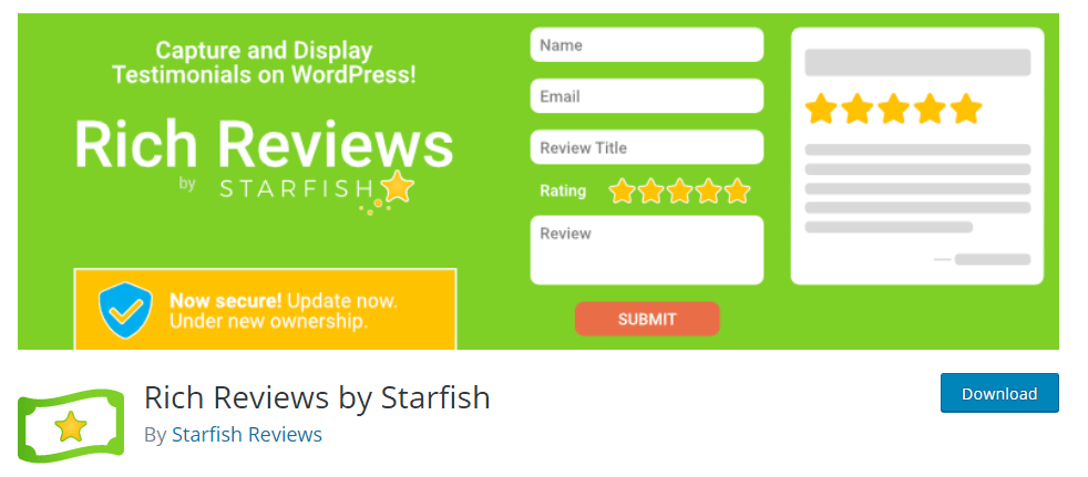 Rich Reviews by Starfish Another WordPress Review Plugin