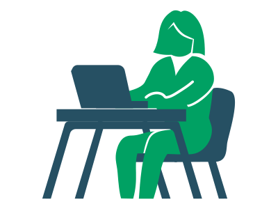 Woman at computer desk icon