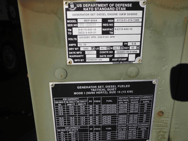 15kw Mep 804a Diesel Military Emp Proof Tactical Quiet
