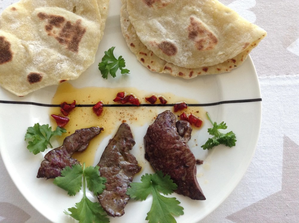 poultry liver with potato pancakes