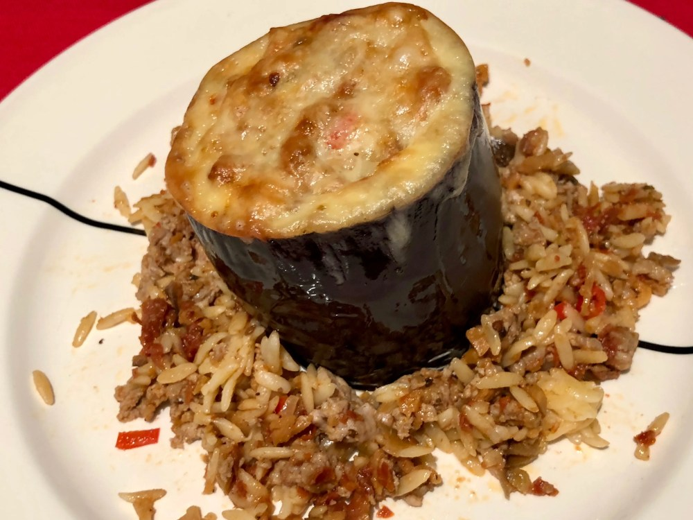 stuffed eggplant with minced poultry
