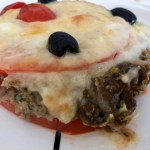 eggplant pie with tomatoes, cheese and mozzarella
