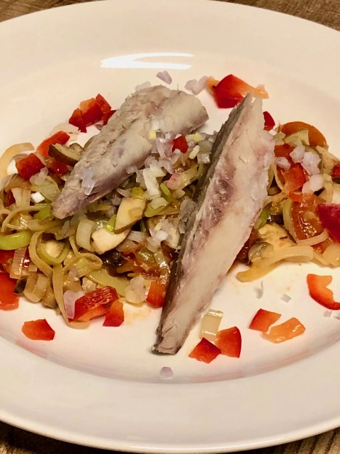 smoked mackerel on a leek stew