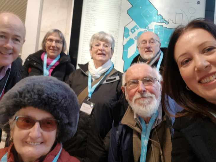 Members of Let's Hear Surrey on a loop checking visit to Epsom.