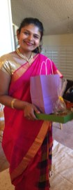 Divya in her hot pink sari
