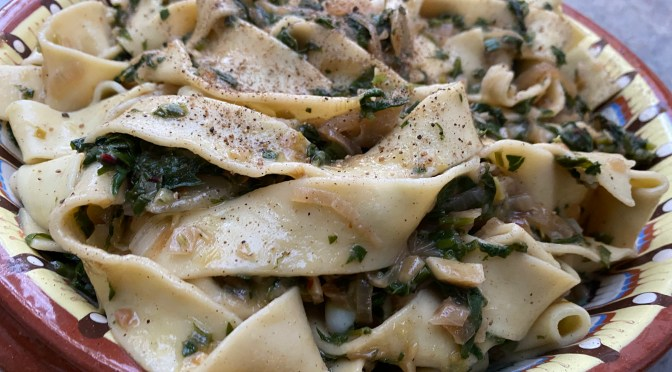 Pasta with Buttery Caramelized Onions and Braising Greens