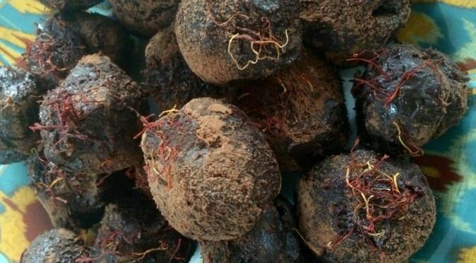 Homemade Cardamom Saffron Chocolate Truffles