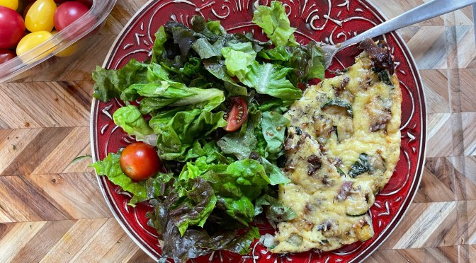 Roasted Garlic Zucchini Egg Fritatta
