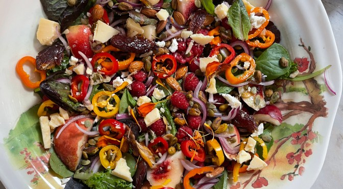 Mission Fig & White Peach Fruit and Nut Salad With White Peach Balsamic Vinaigrette