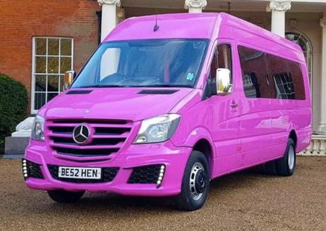 Pink Mercedes Party Bus Limo Hire London | Surrey | Kent | Hampshire | Essex | Hertfordshire