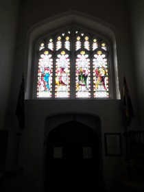 Present tower west window, installed in the later 19th century, but seemingly reusing the formerly-blocked opening of the medieval west window.