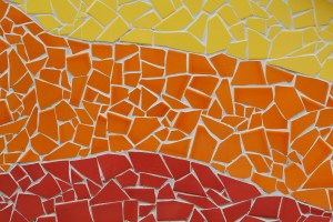 a red, orange, and yellow mosaic