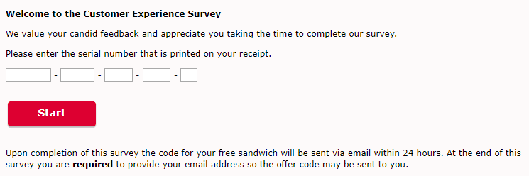 chick fil a survey without serial number