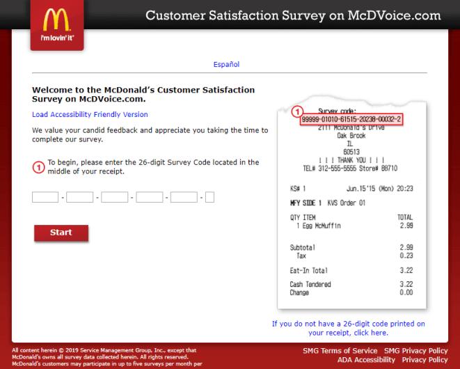 McDVOICE – McDonald's Survey