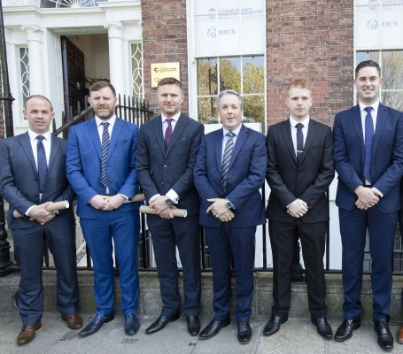 At the Society of Chartered Surveyors Ireland graduation ceremony on 7th April were from left Martin McGovern, Shane Hynes, Cian Burin, Colin Bray, Senior Vice President S.C.S.I., Jonathan Tavey, Christopher Deery and Derek Horan.