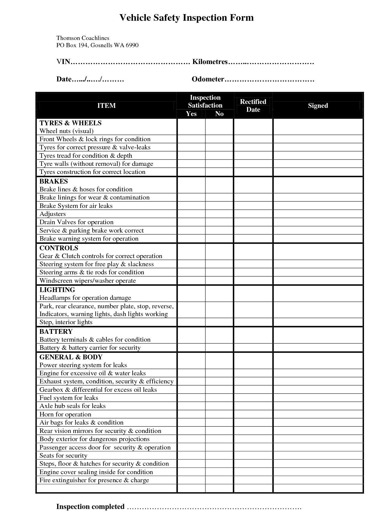 Vehicle Safety Inspection Form Safety Inspection Forms