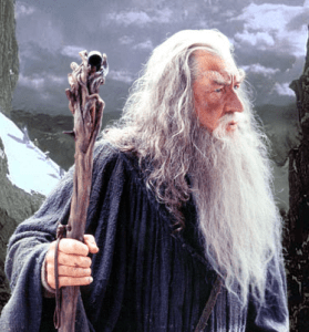 Wizard with long white hair and beard, stern expression, side view, holding wooden walking staff