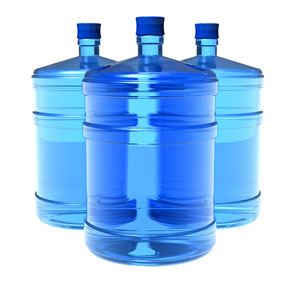 Water storage containers for prepping supplies.