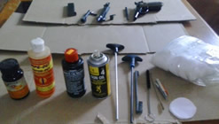 Gun cleaning supplies.