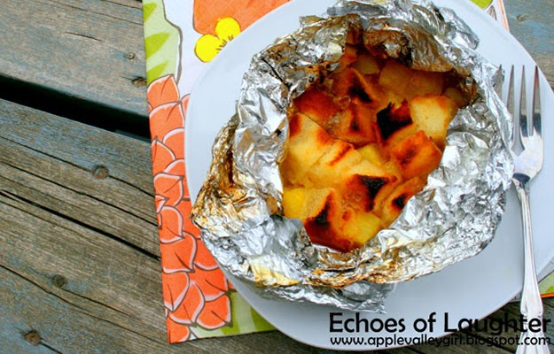 Grilled Pineapple In Foil Over Fire