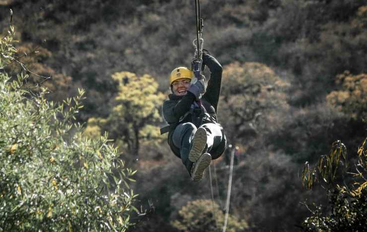 Happy woman zip line adventure | Yosemite National Park Camping | Survival Life National Park Series