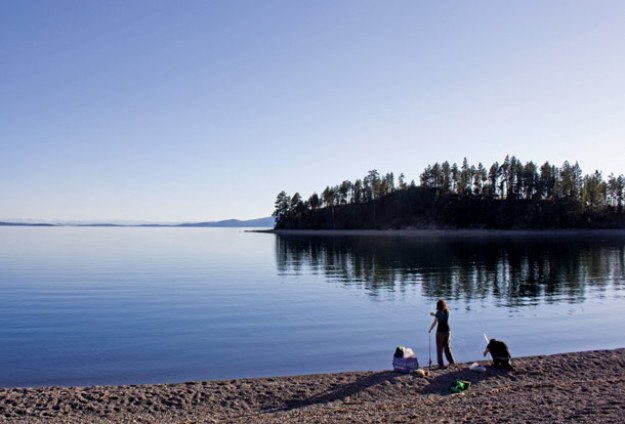 A pair of locals prepare to do some fishing along Flathead Lake at Yellow Bay State Park. Justin Franz | Flathead Beacon.
