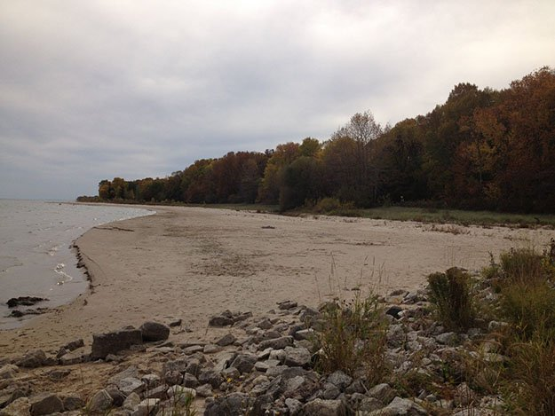 A rocky shoreline at Harrington Beach State Park, Wisconsin