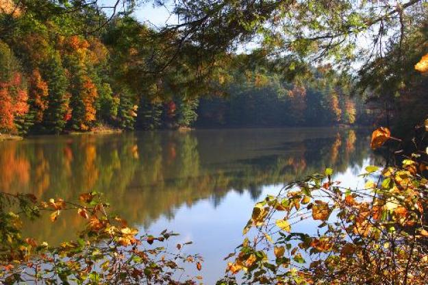 Fall foliage and lake at Watoga State Park in West Virginia.