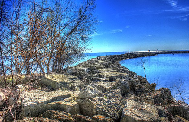 A rock walkway bordering the lake at High Cliffs State Park, Wisconsin.