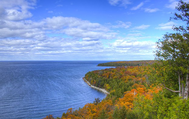 Fall foliage in Peninsula State Park in Wisconsin, USA.