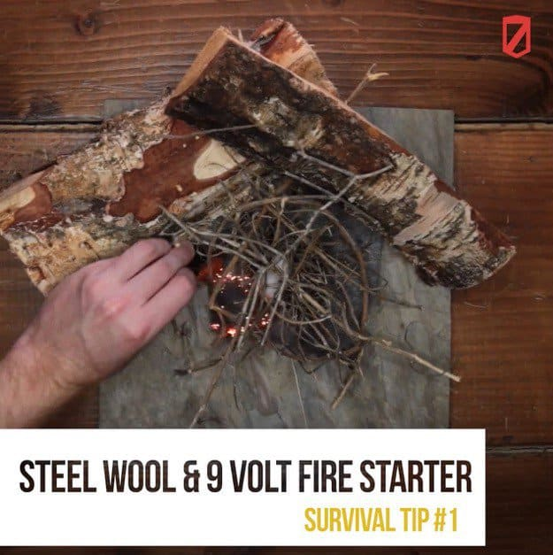 Steel wool and battery fire starter | Quick & Easy Survival Hacks Using Household Items
