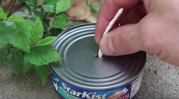 Insert The Paper/String Into The Hole   How to Make a Tuna Oil Lamp